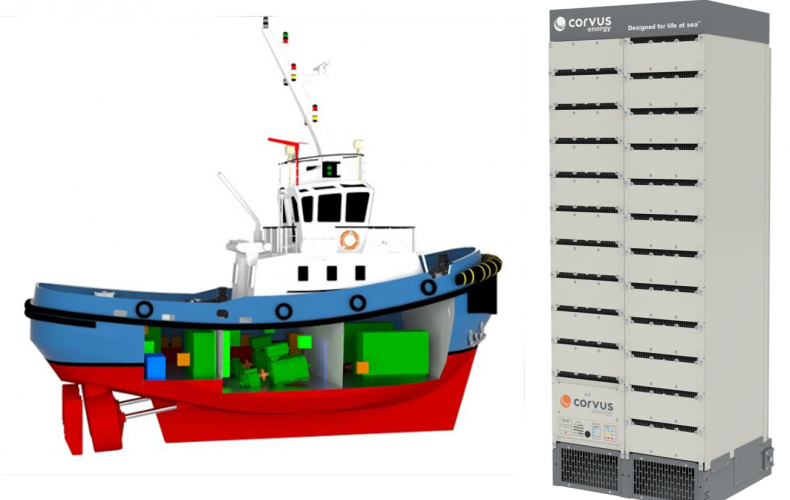 Navtek selects Corvus Energy to provide battery for the world's first all-electric tug