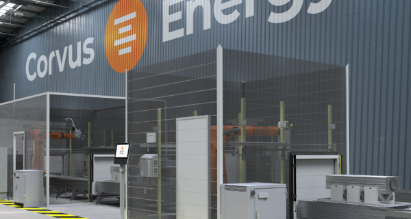 Illustration showing part of the new productionline to be installed in the Corvus Energy Richmond Plant in Canada. The  The state-of-the-art production equipment will be based upon the same flexible robotic technology used in the battery factory in Norway.